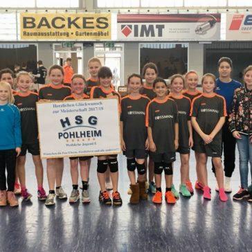 Gratulation der weiblichen E-Jugend zum Meistertitel in der Bezirksliga C-Süd